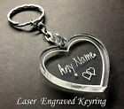 Personalised Name Heart Shape Keyring - Laser cut and engraved