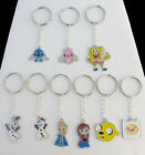 Choice Cartoon Enamel Charm Key Ring Frozen Adventure Time Spongebob + Gift Bag