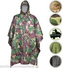 WATERPROOF PONCHO HOODED MTP BTP RAIN COAT FISHING ARMY CADET RIPSTOP CAMO MENS