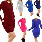 Womens Ladies Fleece Knit Tunic Tulip Bodycon Dress Long  Sweatshirt Plus Size