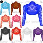 Womens Ladies Lace Cropped Open Bolero Long Sleeve Cardigan Shrug Top Plus Sizes
