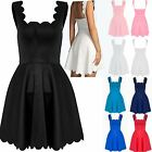 Womens Ladies Scallop Petal Wave Edges Flared Franki Stretchy Mini Skater Dress