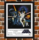 Framed Star Wars Movie Poster A4 / A3 Size Mounted In Black / White Frame