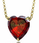 Yellow Gold Plated Pendant Red Heart Heart Cubic Zirconia Chain Necklace Jewelry