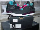 Girls Nike Air Jordan IV 4 Retro GS Black Vivid Pink Dynamic Blue v x 487724 019