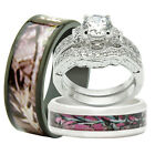 4pcs His & Hers Titanium Camo 925 Sterling Silver Wedding Bridal Matching Rings