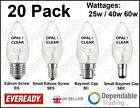 20 x EVEREADY CANDLE LIGHT BULBS / LAMPS in 25W, 40W, 60W - SES, SBC, ES, BC
