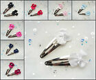2 SATIN BOW PEARL SNAP HAIR CLIPS FLOWER GIRL BRIDESMAID BRIDAL WEDDING CHILDS