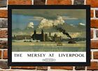Framed Mersey At Liverpool Railway Poster A4   A3 Size In Black   White Frame