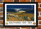 Framed Southend On Sea Travel Poster A4 / A3 Size In Black / White Frame (R-1)