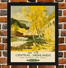 Framed Central Highlands Railway Travel Poster A4 / A3 Size In Black/White Frame