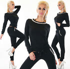 Sexy women's 2-Piece Full Tracksuit Long Sleeve Fitness Chino Pants Suit 8,10,12