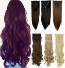 Real Natural Clip in on Full Head Hair Extentions Synthetic Remy Black Blonde UK