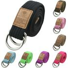 Men Women Plain Colorful Double D-Ring Metal Buckle Canvas Waistband Belt 47''