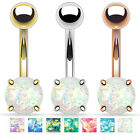 Solitaire Opal Glitter Gem Belly Ring Navel Naval - CHOOSE STEEL OR GOLD!