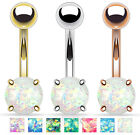 Solitaire Opal Glitter Gem Belly Ring Navel Naval - STEEL, GOLD or ROSE GOLD