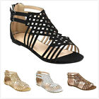 Brand New Women's Fashion Studded Gladiator Double Buckles Flat Sandals Shoes