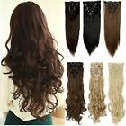 100% Real Quality  Full Head 8 piece Clip in on Hair Extension Feel as Human