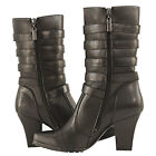 Blk Xelement Women's 5-Buckle Leather Biker Boots easy on si