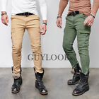 Washed Mens Slim Skinny Fit Cotton Khaki Beige Black Biker Cargo Pants Guylook