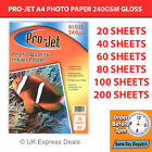 PROJET A4 INKJET PHOTO PAPER 20 SHEETS PREMIUM QUALITY 240 GSM GLOSS FINISH