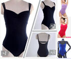 New Lady Women's Black Blue Lycra Sleeveless Professional Dance Leotard Camisole