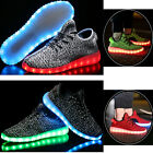 Mens Outdoor sports LED Light UP shoes Canvas Casual Sneakers Athletic Knit Shoe