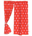 BOYS/GIRLS PLAYHOUSE CURTAINS ~ RED STARS ~ INCLUDES CURTAIN WIRE & TIE BACKS
