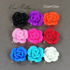 32mm 12 pieces Faux Rhinestone Rose Flower Flatback Resin Cabochon  - 9 Colors