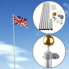 20FT Flag Pole Telescopic Aluminium 5 Joints Flagpole W/ 2 UK Flags & Gold Ball