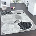 Trendy Designer Carpet Stylish Circular Pattern in Grey Cream Mat Modern Rug