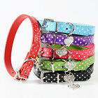 Pet Dog PU Leather Collars With Rhinestone & Heart Shaped Pendants