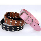 Rivet Pet Collar Strap Dog Studded Adjustable PU Leather Spiked Buckle S M