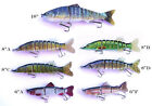 "6"" 8"" 10"" Multi Jointed Bass Muskie Pike Striper Fishing Bait Swimbait Lure NEW"
