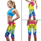 Womens Yoga Pants Running Sports Cropped Legging Fitness Ladies Jogging Trousers
