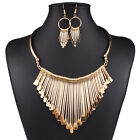 Fashion Womens Charm Gold Chain Statement Bib Necklace Choker Earrings Set