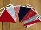 10FT (3M) Handmade Fabric Bunting -Seaside Theme Cotton - FREEPOST
