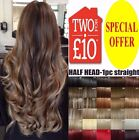 Fashion Human Made Synthetic Straight Hair Extensions 3/4 Full Head Real Thick