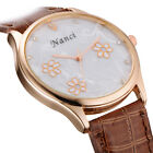 Women Bling  Diamond Flower Floral Leather Band Analog Quartz Dial WristWatch