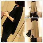 Women's Girl Plain Long Cotton Loose Casual 3/4 Sleeve T Shirts Tops Blouses
