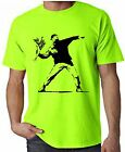 BANKSY FLOWER THROWER NEON T-SHIRT - Riot Bomber Flowers - Choice Of Colours