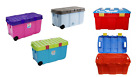 100L Plastic Storage Box Tough Cart Container With 2 Wheels Clip On Lided Boxes