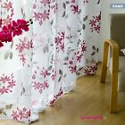 Floral Purple Leaf Flower Sheer Voile Curtain Panel  French Country Cottage