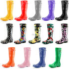 Women Classic Knee Mid High Tall Slim Fit Rain Round Toe Thick Design Rainboots