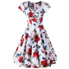 New Women Casual Retro Floral Red Rose Print Short Cap Sleeve A Line Swing Dress