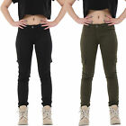 New Ladies Womens Green Black Slim Stretchy Combat Pants Skinny Cargo Trousers