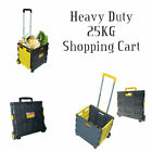 Folding Boot Cart Shopping Trolley Fold Up Storage Box Wheels Crate Foldable