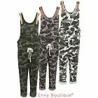 Ladies Womens Dungaree Camo Camouflage Jumpsuit 3/4 Pants Loungewear