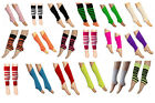 Girls Kids Dance Wear Gear Neon Plain Stripe Leg Warmer Socks Gym Black Pink 80