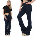 New Womens 60s 70s Style Indigo Dark Flared Bootcut Bellbottom Stretch Jeans